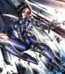 1girl alita arm_blade battle_angel_alita black_hair breasts brown_eyes cyborg debris facial_mark fighting_stance high_heels highres liang_xing lips mechanical_arms medium_breasts metal_skin motion_blur parted_lips science_fiction short_hair solo weapon