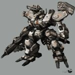 absurdres front_mission grey_background gun highres holding holding_gun holding_weapon looking_down mace magmastudio mecha missile_pod no_humans science_fiction solo visor weapon