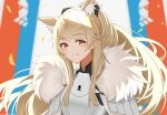1girl absurdres animal_ear_fluff animal_ears arknights armor bangs black_ribbon blemishine_(arknights) blonde_hair blush breastplate commentary_request eyebrows_visible_through_hair hair_ribbon highres horse_ears horse_girl kingdom_of_kazimierz_logo long_hair looking_at_viewer pauldrons ribbon ryuya shoulder_armor smile solo upper_body yellow_eyes