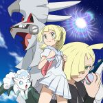 1boy 1girl alolan_form alolan_vulpix backpack bag blonde_hair braid brother_and_sister closed_mouth commentary_request eyelashes frown gen_7_pokemon gladion_(pokemon) green_eyes highres holding holding_poke_ball holding_strap legendary_pokemon lillie_(pokemon) long_hair looking_to_the_side monoshiri_hakase pink_bag pleated_skirt poke_ball pokemon pokemon_(anime) pokemon_(creature) pokemon_sm_(anime) ponytail premier_ball shirt short_sleeves siblings silvally skirt white_shirt white_skirt