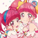 2girls :d blue_hairband closed_mouth commentary_request cure_star dual_persona earrings eyebrows_visible_through_hair hairband highres hoshina_hikaru jewelry looking_at_viewer magical_girl multiple_girls open_mouth pink_eyes pink_hair precure smile star_twinkle_precure twintails upper_body yufu_toyomimasu