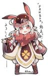 1girl :d animal_ears animal_hat blush boots brown_footwear cabbie_hat commentary_request fake_animal_ears fang fur_collar genshin_impact hat klee_(genshin_impact) light_brown_hair long_hair long_sleeves looking_at_viewer low_twintails open_mouth pointy_ears red_eyes red_headwear shadow sleeves_past_wrists smile solo translation_request tsuka twintails twitter_username white_background wide_sleeves