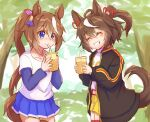 2girls ^_^ ahoge animal_ears bendy_straw black_jacket blue_eyes blue_shirt blue_skirt blush brown_hair closed_eyes closed_mouth collarbone commentary_request cup day disposable_cup drinking_straw grin hair_ribbon highres holding holding_cup horse_ears horse_girl horse_tail jacket kitasan_black long_hair long_sleeves multicolored_hair multiple_girls ooba_jun open_clothes open_jacket outdoors pink_ribbon pleated_skirt ponytail puffy_long_sleeves puffy_sleeves ribbon shirt short_over_long_sleeves short_shorts short_sleeves shorts skirt sleeves_past_wrists smile streaked_hair tail tail_raised tokai_teio_(umamusume) transparent tree umamusume very_long_hair white_hair white_shirt yellow_shorts