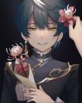 1boy 1other bangs black_background blue_hair chinese_clothes earrings flower frilled_shirt_collar frills genshin_impact hair_flower hair_ornament highres holding holding_flower jacket jewelry long_sleeves looking_at_viewer male_focus open_mouth raku_ge short_hair simple_background single_earring smile solo_focus xingqiu_(genshin_impact) yellow_eyes