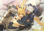 2girls animal_ears arms_around_waist au_ra blonde_hair blue_eyes brown_eyes cat_ears cat_tail dark_skin dark_skinned_female dragon_tail driving fang final_fantasy final_fantasy_xiv ground_vehicle hide_(hideout) horns miqo'te moped motor_vehicle multiple_girls open_mouth pleated_skirt riding scared school_uniform silver_hair skirt slit_pupils smile tail tearing_up whisker_markings