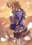 1boy belt blonde_hair blue_eyes blurry commentary_request earrings gloves highres jewelry link master_sword outdoors pointy_ears shuri_(84k) solo sunset sword the_legend_of_zelda the_legend_of_zelda:_breath_of_the_wild weapon