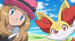 1girl black_ribbon blue_eyes closed_mouth clouds collarbone collared_shirt commentary_request day eyelashes fennekin gen_6_pokemon hat hat_ribbon light_brown_hair long_hair looking_at_viewer monoshiri_hakase official_style outdoors pink_headwear pokemon pokemon_(anime) pokemon_(creature) pokemon_xy_(anime) ribbon serena_(pokemon) shirt sky sleeveless smile starter_pokemon upper_body