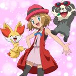 1girl :d bangs black_legwear blue_eyes blue_ribbon commentary_request eyelashes fangs fennekin gen_6_pokemon hat leaf monoshiri_hakase official_style open_mouth pancham pokemon pokemon_(anime) pokemon_(creature) pokemon_xy_(anime) red-framed_eyewear ribbon serena_(pokemon) short_hair sleeveless smile spread_fingers standing starter_pokemon sunglasses thigh-highs tongue