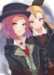 2girls assam_(girls_und_panzer) assassin's_creed:_syndicate assassin's_creed_(series) black_coat black_ribbon blonde_hair blue_eyes blue_headwear closed_mouth coat commentary commission cosplay dress_shirt dutch_angle fedora frown girls_und_panzer hair_pulled_back hair_ribbon hat highres jewelry long_hair looking_at_viewer medium_hair multiple_girls necklace open_clothes open_coat orange_eyes redhead ribbon rosehip_(girls_und_panzer) shirt skeb_commission smile standing white_shirt zono_(inokura_syuzo029)