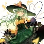 1girl absurdres adapted_costume alternate_hair_length alternate_hairstyle black_headwear bouquet bow breasts commentary_request flower fuupu green_eyes green_hair green_nails green_skirt hand_up hat hat_bow heart heart_of_string highres komeiji_koishi long_hair long_sleeves looking_at_viewer medium_breasts nail_polish open_mouth rose shirt skirt smile solo third_eye touhou white_background wide_sleeves yellow_bow yellow_flower yellow_rose yellow_shirt