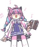 1girl :3 animal_ear_fluff animal_ears apex_legends bangs blue_hair blue_skirt braid breasts cat_ears chained_tan chibi eyebrows_visible_through_hair gun handgun high-waist_skirt holding holding_gun holding_weapon hololive kemonomimi_mode looking_down medium_breasts minato_aqua multicolored_hair musical_note open_hand open_mouth p2020_(pistol) pistol purple_hair skirt smile solo sweater twin_braids two-tone_hair v-shaped_eyebrows violet_eyes weapon white_background white_sweater
