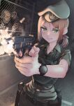 1girl bandaid belt belt_pouch beret bulletproof_vest clenched_teeth commentary_request fence finger_on_trigger firing green_eyes hat highres holster orange_hair original pouch samaru_(seiga) scrape shell_casing sweatdrop teeth watch watch weapon_request zombie