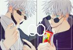 1boy bangs black_jacket blue_eyes closed_mouth dmsco1803 drinking_straw gojou_satoru hair_between_eyes hand_up highres holding jacket juice_box jujutsu_kaisen looking_away male_focus mask mask_pull mouth_mask multiple_views round_eyewear shirt short_hair sunglasses upper_body white_hair white_shirt