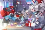 4boys autobot blue_eyes cup energon energon_cube highres holding holding_cup jetfire lantana0_0 looking_at_viewer looking_down mecha multiple_boys no_humans open_hands perceptor ratchet sitting transformers v-fin waving wheeljack