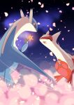absurdres blurry claws closed_mouth commentary_request flower flying gen_3_pokemon hatoro_kuroyoshi highres holding holding_flower latias latios legendary_pokemon no_humans open_mouth petals pink_flower pokemon pokemon_(creature) red_eyes smile tongue |d