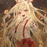 1girl :d absurdres bangs blood bloody_clothes blurry bow breasts brown_background collared_shirt commentary_request dark_background depth_of_field eyebrows_behind_hair fire floating_hair fujiwara_no_mokou hair_bow hair_ribbon highres kani_nyan long_hair looking_at_viewer open_mouth pants red_eyes ribbon shirt short_sleeves silver_hair simple_background small_breasts smile solo suspenders tearing_up teeth torn_clothes touhou tress_ribbon upper_body very_long_hair white_bow white_pants white_shirt