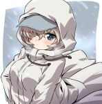 1girl bangs baseball_cap blue_eyes blue_headwear blush closed_mouth coat commentary drawstring frown girls_und_panzer hair_over_one_eye hat highres hood hood_up hooded_coat inoue_kouji long_sleeves looking_at_viewer outside_border short_hair silver_hair snowing solo white_coat wind youko_(girls_und_panzer)