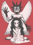 1girl barefoot black_eyes black_hair character_request check_character check_copyright copyright_request gashi-gashi limited_palette long_hair looking_at_viewer parted_lips pazuzu red_background shirt simple_background solo the_exorcist white_shirt