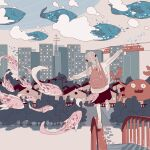 1girl bag black_skirt building city clouds cloudy_sky crab fantasy fish ground_vehicle highres house low_twintails original skirt sky stairs surreal train tree twintails whale yaerun