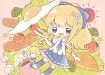 2girls bangs blonde_hair blue_eyes blue_legwear blue_neckwear blue_skirt blush bow broccoli chibi croissant cup double_bun egg flower food fork hair_bow hair_flower hair_ornament highres holding holding_fork holding_plate long_hair mug multiple_girls nada_namie open_mouth original plate ponytail sausage shirt short_sleeves sidelocks signature skirt star_(symbol) steam sugar_cube sunny_side_up_egg thigh-highs tomato