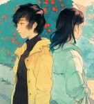 1boy 1girl black_hair black_shirt bush expressionless facing_away flower highres jacket kan0nakan0 long_hair original outdoors plant profile red_flower shirt short_hair upper_body white_jacket yellow_jacket