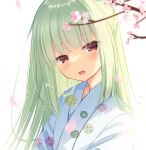 1girl bangs blurry blurry_foreground cariboy commentary_request depth_of_field eyebrows_visible_through_hair floral_print flower green_hair highres japanese_clothes kimono long_hair looking_at_viewer murasame_(senren) open_mouth petals pink_flower print_kimono red_eyes senren_banka solo tree_branch upper_body white_kimono