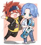 2boys ^_^ artist_name big_cat_shan blue_eyes blue_hair blush chibi closed_eyes collared_shirt denim fang headband highres hood hoodie jeans jumping kyan_reki langa_hasegawa male_focus multiple_boys open_mouth pants redhead shirt sk8_the_infinity skateboard smile