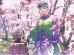 2boys :d backpack bag black_hair black_jacket blurry brown_bag buttons carrying_under_arm cherry_blossoms collared_shirt commentary_request day depth_of_field diamond_wa_kudakenai dress_shirt earrings facing_away falling_petals gakuran glint grass green_eyes green_headband green_vest grey_hair hand_in_pocket headband height_difference highres hirose_koichi jacket jewelry jojo_no_kimyou_na_bouken k_(gear_labo) kishibe_rohan long_sleeves looking_at_another looking_down male_focus multiple_boys notebook open_mouth outdoors pants petals purple_shirt school_bag school_uniform shirt short_hair smile spiky_hair standing tree untucked_shirt vest white_pants wind