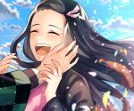1girl :d black_hair blue_sky brown_hair closed_eyes clouds floating_hair hair_ribbon hand_on_another's_cheek hand_on_another's_face haori japanese_clothes kamado_nezuko kimetsu_no_yaiba kimono long_hair long_sleeves mady_(madine08260) multicolored_hair open_mouth pink_kimono pink_ribbon ribbon sky smile solo solo_focus two-tone_hair upper_body very_long_hair