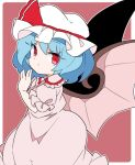 1girl bat_wings blue_hair closed_mouth cowboy_shot dress eyebrows_visible_through_hair frilled_skirt frills hand_up hat ini_(inunabe00) looking_at_viewer mob_cap pink_dress pink_shirt pink_skirt puffy_short_sleeves puffy_sleeves red_background red_eyes red_ribbon remilia_scarlet ribbon shirt short_hair short_sleeves simple_background skirt solo touhou wings