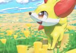 absurdres animal_focus blue_sky clouds commentary_request day fangs fennekin field flower flower_field fox_heart full_body gen_6_pokemon grass happy highres looking_up no_humans open_mouth outdoors path petals pokemon pokemon_(creature) red_eyes road sky smile solo standing yellow_flower