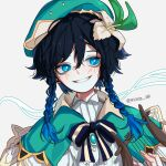 1boy androgynous bangs beret black_hair blue_eyes blue_hair blush bow braid brooch cape collared_cape collared_shirt commentary_request flower gem genshin_impact gradient_hair green_headwear hair_flower hair_ornament hat highres holding holding_instrument instrument jewelry leaf looking_to_the_side lyre male_focus multicolored_hair nail_polish open_mouth shirt short_hair_with_long_locks simple_background smile solo twin_braids venti_(genshin_impact) white_background white_flower white_nails white_shirt wichita_00