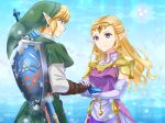 1boy 1girl blonde_hair dress earrings fairy fingerless_gloves gloves green_headwear green_tunic highres instrument jewelry link long_hair looking_at_another ocarina pink_dress pointy_ears princess_zelda shield sword the_legend_of_zelda the_legend_of_zelda:_ocarina_of_time weapon