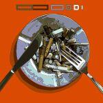 absurdres ashtray cigarette_butt cogecha flat_color fork highres knife ligne_claire no_humans original red_background shadow soot still_life