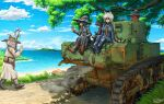 2boys 3girls animal_ears artist_request black_eyes black_hair blue_eyes brown_hair caterpillar_tracks clouds day fantasy ground_vehicle highres house long_hair m3_stuart military military_vehicle motor_vehicle multiple_boys multiple_girls necktie ocean original polearm red_eyes scenery short_hair shovel signature sky smile spear tank tree weapon white_hair witch yellow_eyes