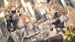 3girls absurdres animal_ear_fluff animal_ears arknights armor aunt_and_niece bangs belt black_belt black_dress black_headwear black_legwear blemishine_(arknights) blonde_hair blue_eyes breastplate commentary copyright_name cup dress dutch_angle flower fur_trim grin hair_between_eyes headset highres holding holding_cup indoors kingdom_of_kazimierz_logo long_hair long_sleeves looking_at_viewer multiple_girls nearl_(arknights) parted_lips pauldrons shoulder_armor siblings sisters sitting smile sunflower teacup teapot thigh-highs thighs whislash_(arknights) yellow_eyes yellow_flower yoshimoto_(dear_life)