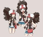 1girl :d antenna_hair bag black_wristband blue_eyes brown_hair clenched_teeth closed_eyes closed_mouth commentary_request eyelashes frown grin hands_on_hips hands_together hilda_(pokemon) long_hair omoitsuka open_clothes open_mouth open_vest pokemon pokemon_(game) pokemon_bw pokemon_masters_ex ponytail shirt short_shorts shorts sidelocks smile teeth tongue vest white_shirt wristband