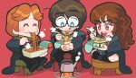 1girl 2boys aqua_eyes blush brown_eyes brown_hair chopsticks closed_eyes eating eyebrows_visible_through_hair food fork gashi-gashi glasses harry_james_potter harry_potter hermione_granger highres multiple_boys no_nose noodles open_mouth ramen ron_weasley smile steam stool tongue tongue_out