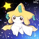 artist_name blush brown_eyes closed_mouth commentary_request daniel_(user_xcsn7483) dated full_body gen_3_pokemon highres jirachi korean_commentary mythical_pokemon no_humans pokemon pokemon_(creature) smile solo sparkle