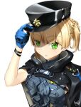 1girl artist_name artist_request bangs black_cape black_headwear blonde_hair blue_gloves cape eyebrows_visible_through_hair girls_frontline gloves green_eyes hand_on_headwear hat highres looking_at_viewer mod3_(girls_frontline) short_hair signature simple_background solo upper_body welrod_mk2_(girls_frontline) white_background