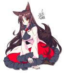 1girl animal_ears bangs breasts brooch brown_hair closed_mouth commentary_request dress eyebrows_visible_through_hair frilled_dress frilled_sleeves frills full_body highres imaizumi_kagerou jewelry large_breasts long_hair long_sleeves looking_at_viewer partial_commentary red_dress red_eyes signature simple_background sitting smile solo tail touhou umigarasu_(kitsune1963) white_background white_dress wide_sleeves wolf_ears wolf_tail