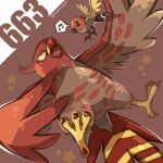 artist_name bird closed_eyes commentary_request designer_ojisan fletchling gen_6_pokemon grey_fur happy highres musical_note no_humans number open_mouth pokemon pokemon_(creature) spoken_musical_note star_(symbol) talonflame talons