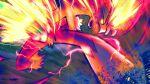 absurdres blaziken claws commentary dynamax fire gen_3_pokemon glowing glowing_eyes higa-tsubasa highres kicking looking_down motion_blur open_mouth pokemon pokemon_(creature) solo yellow_eyes