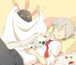 1boy aron bad_id bad_pixiv_id bangs blanket bubble buttons closed_eyes collared_shirt eto_(reve) flying_sweatdrops gen_3_pokemon grey_hair grey_pants head_on_pillow jewelry lileep lying male_focus necktie on_back on_bed pants pillow pokeblock pokemon pokemon_(creature) pokemon_(game) pokemon_rse red_neckwear ring shirt short_hair sleeping sleeves_rolled_up steven_stone white_shirt