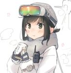 1girl alternate_costume beanie black_eyes black_gloves black_hair can commentary_request fingerless_gloves fubuki_(kancolle) gloves goggles goggles_on_head grey_headwear grey_scarf hat highres jacket kantai_collection low_ponytail ma_rukan ponytail romaji_commentary scarf short_ponytail sidelocks solo upper_body white_jacket winter_clothes