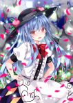 1girl :d bangs black_headwear blue_hair blue_skirt blurry blush bow bowtie clouds cloudy_sky commentary_request cowboy_shot day depth_of_field eyebrows_visible_through_hair falling_petals flat_chest flower flower_request food fruit hands_on_hips hat hinanawi_tenshi long_hair looking_at_viewer nanase_nao nose_blush open_mouth outdoors peach petals pink_flower puffy_short_sleeves puffy_sleeves red_bow red_eyes red_neckwear shirt short_sleeves skirt sky smile solo sparkle touhou very_long_hair white_shirt