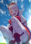 1girl animal_ears arm_up ashino_moto bangs blue_sky boots breasts clouds elbow_gloves from_below gloves gold_ship_(umamusume) hat highres horse_ears horse_girl large_breasts long_hair looking_at_viewer open_mouth outdoors pantyhose pointing red_shirt ribbon school_uniform shirt silver_hair sky smile solo squatting teeth tongue tongue_out umamusume white_footwear white_gloves white_legwear