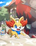 ;d blue_eyes building chespin clothed_pokemon clouds commentary_request day fangs fennekin gen_4_pokemon gen_5_pokemon gen_6_pokemon highres makoto_ikemu one_eye_closed open_mouth outdoors piplup pokemon pokemon_(creature) sky smile starter_pokemon tongue tree zoroark