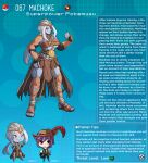 1boy 1girl abs anklet armor artist_name belt beltbra black_gloves breasts chain character_name character_profile collar colored_skin commentary elbow_gloves english_commentary english_text faulds fingerless_gloves gen_1_pokemon gloves grey_skin hat hat_feather highres jewelry kinkymation leather leather_armor long_hair machoke medium_breasts poke_ball pokemon ponytail purple_hair red_eyes sandals sidelocks white_hair
