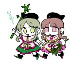 2girls :3 @_@ apron bamboo bangs black_headwear black_legwear bow brown_hair dress frills green_dress green_eyes green_footwear green_hair harunori_(hrnrx) hat holding holding_hands multiple_girls myouga_(plant) nishida_satono open_mouth parted_bangs purple_dress purple_footwear ribbon shoes short_hair short_hair_with_long_locks short_sleeves simple_background tate_eboshi teireida_mai touhou translation_request violet_eyes waist_apron